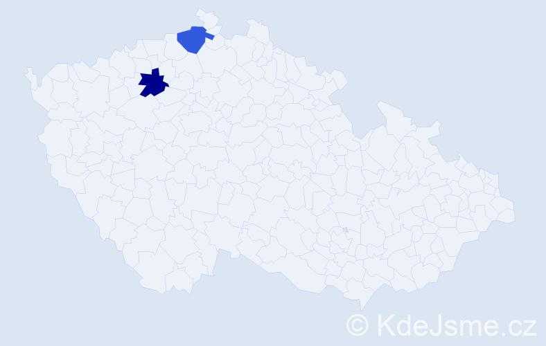 Příjmení: 'Fiveber', počet výskytů 6 v celé ČR
