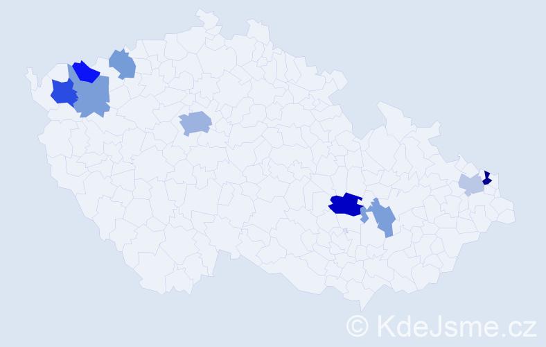 Příjmení: 'Halamásková', počet výskytů 16 v celé ČR