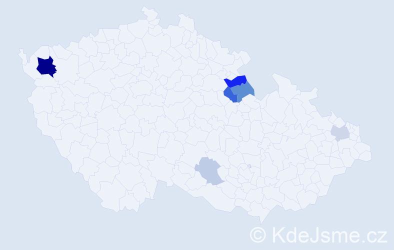Příjmení: 'Lászlóová', počet výskytů 19 v celé ČR