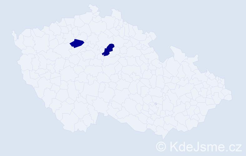 Příjmení: 'Kulháni', počet výskytů 2 v celé ČR
