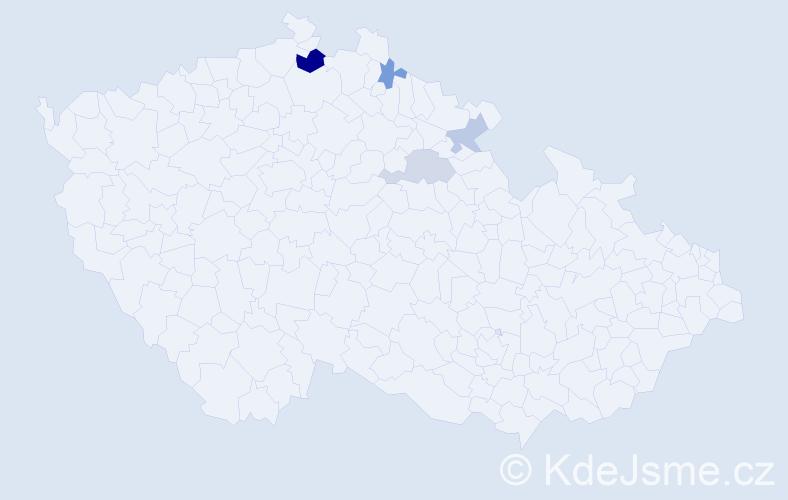 Příjmení: 'Kábrle', počet výskytů 7 v celé ČR