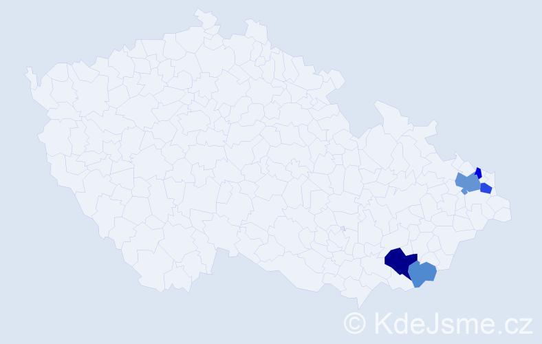 Příjmení: 'Čičelová', počet výskytů 10 v celé ČR