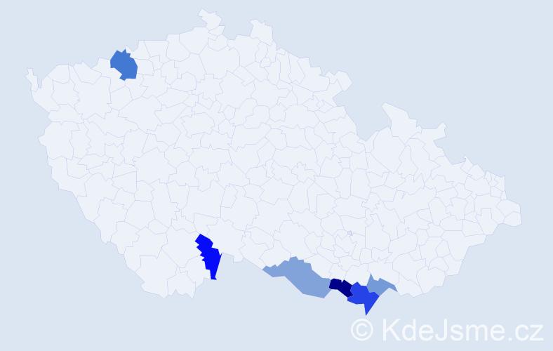 Příjmení: 'Haarová', počet výskytů 8 v celé ČR