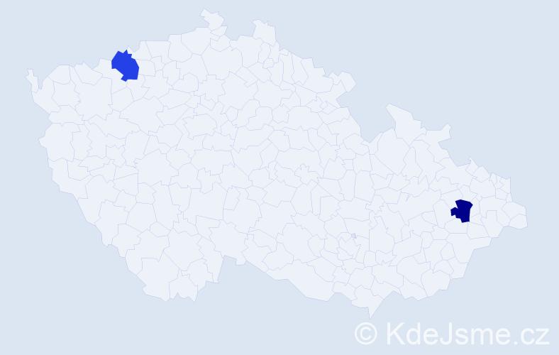 Příjmení: 'Čekajská', počet výskytů 6 v celé ČR