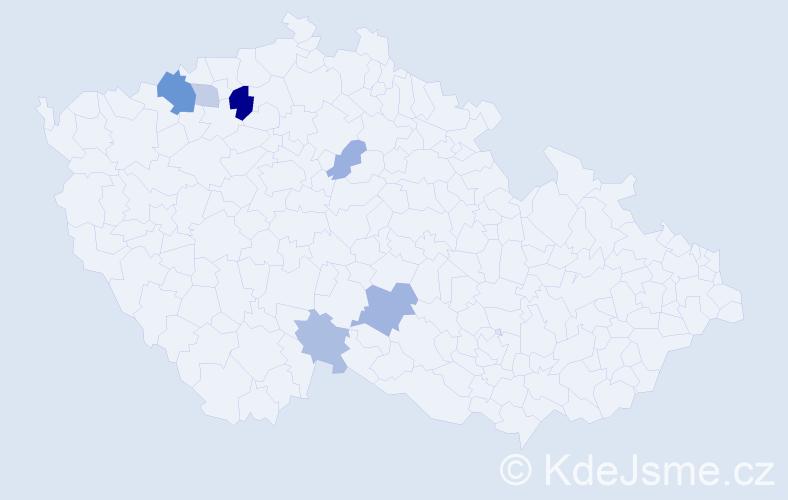 Příjmení: 'Lancoš', počet výskytů 13 v celé ČR