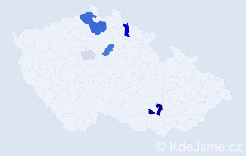 Příjmení: 'Chomaničová', počet výskytů 11 v celé ČR