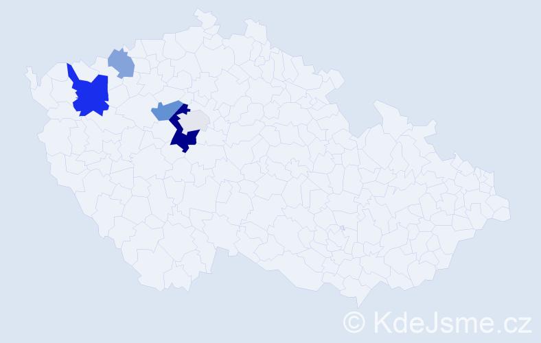 Příjmení: 'Jednorožcová', počet výskytů 12 v celé ČR