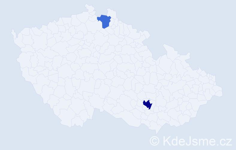 Příjmení: 'Händel', počet výskytů 5 v celé ČR