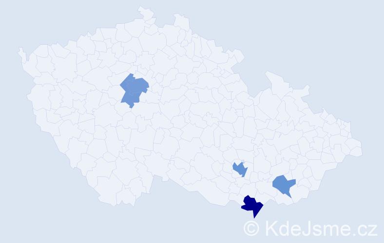 Příjmení: 'Daly', počet výskytů 14 v celé ČR