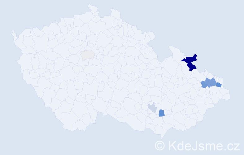 Příjmení: 'Kubacká', počet výskytů 21 v celé ČR