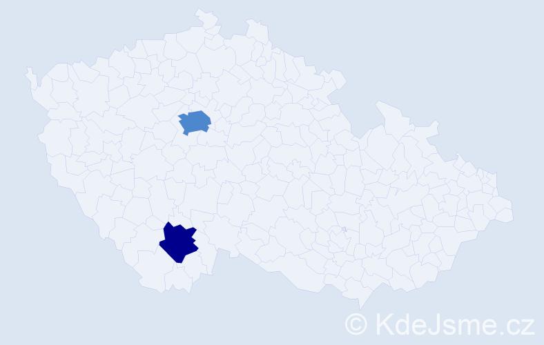 Příjmení: 'Hacová', počet výskytů 4 v celé ČR