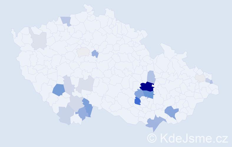 Příjmení: 'Kamba', počet výskytů 62 v celé ČR