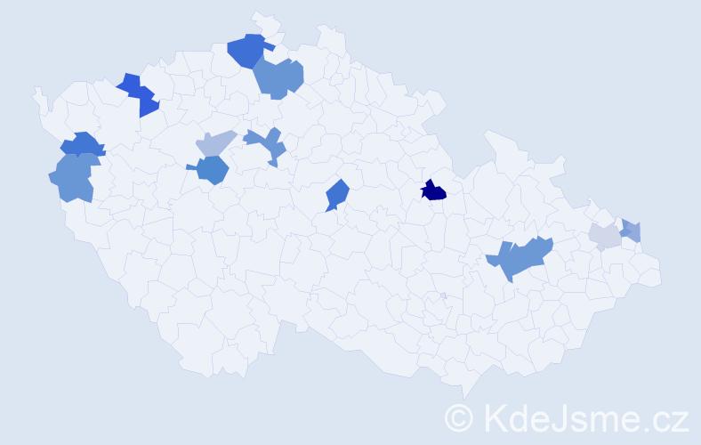 Příjmení: 'Gaálová', počet výskytů 23 v celé ČR