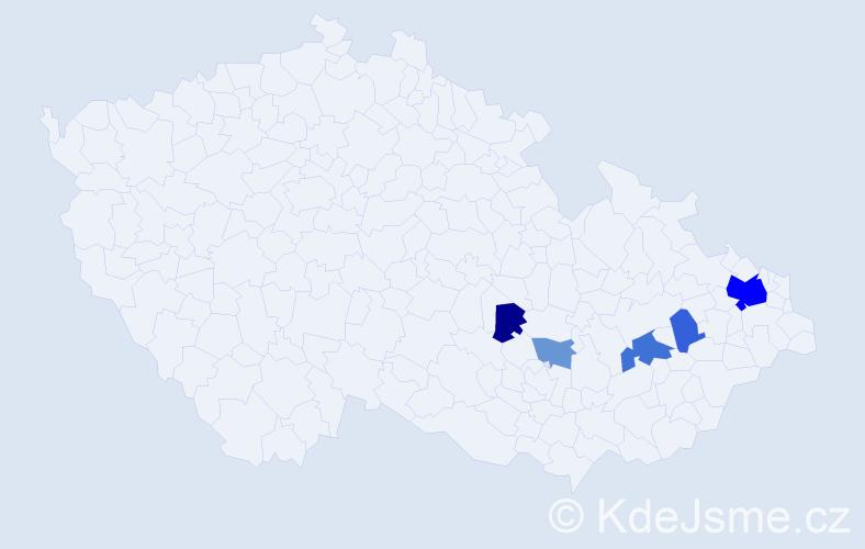 Příjmení: 'Jalovičiarová', počet výskytů 13 v celé ČR