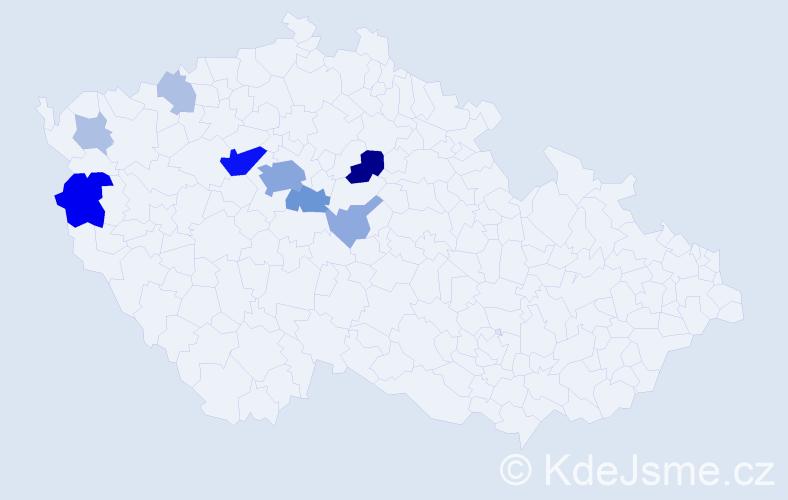 Příjmení: 'Hanilec', počet výskytů 33 v celé ČR