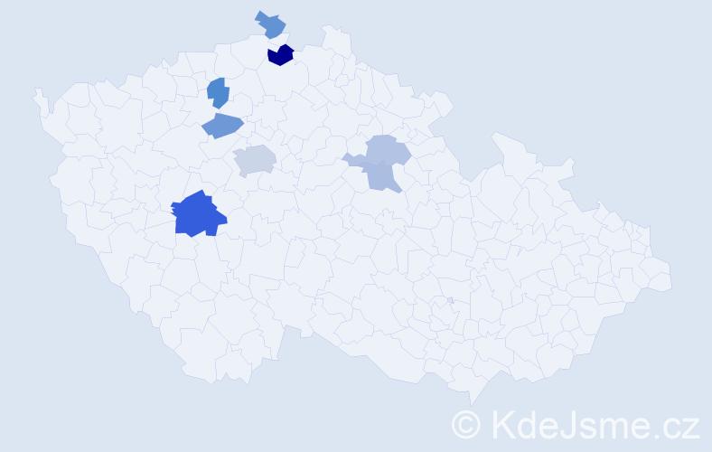 Příjmení: 'Červášková', počet výskytů 14 v celé ČR