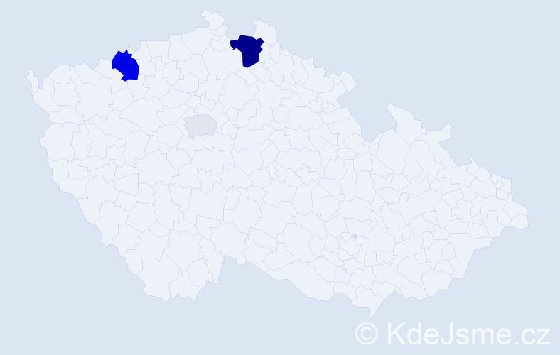 Příjmení: 'Buduláková', počet výskytů 9 v celé ČR