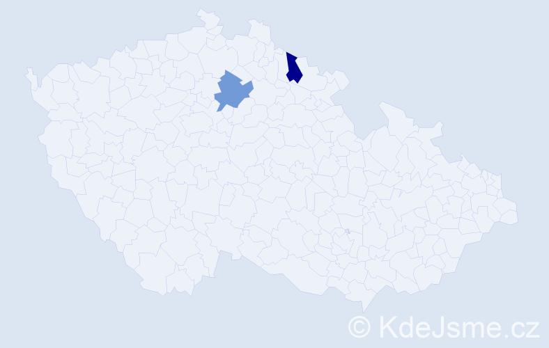 Příjmení: 'Čamlerová', počet výskytů 2 v celé ČR