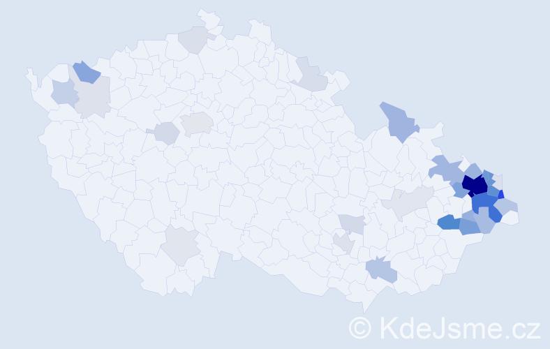 Příjmení: 'Folvarčný', počet výskytů 141 v celé ČR