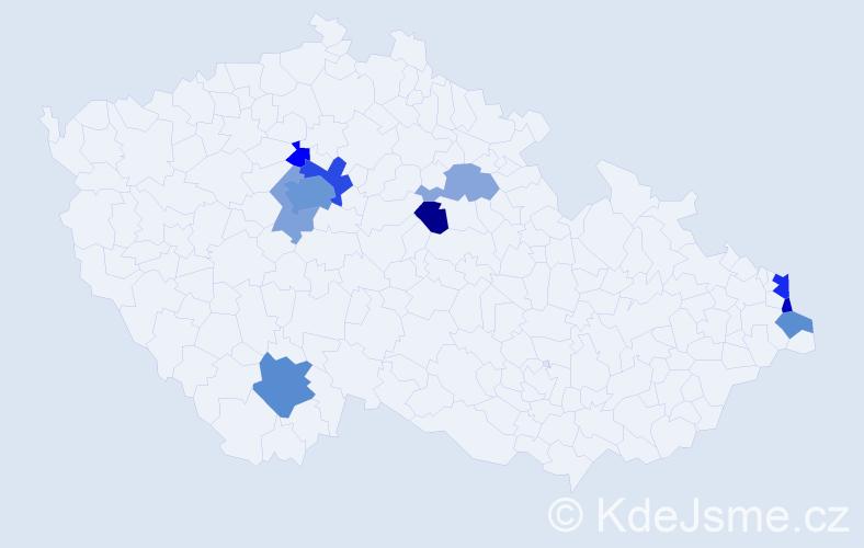 Příjmení: 'Fabera', počet výskytů 22 v celé ČR