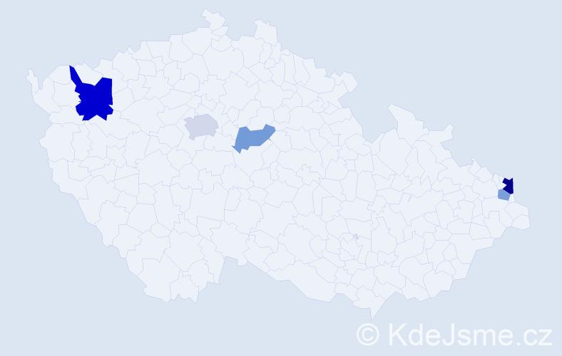 Příjmení: 'Betko', počet výskytů 10 v celé ČR