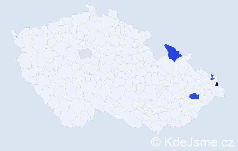 Příjmení: 'Kudrys', počet výskytů 5 v celé ČR