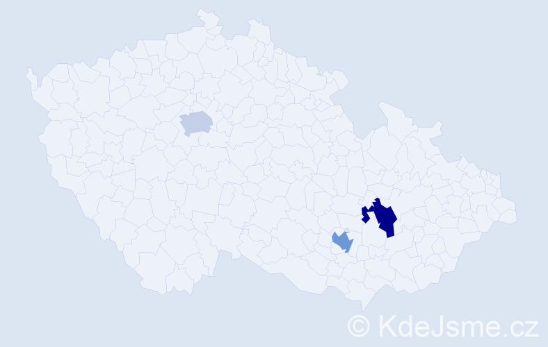 Příjmení: 'Enevová', počet výskytů 11 v celé ČR