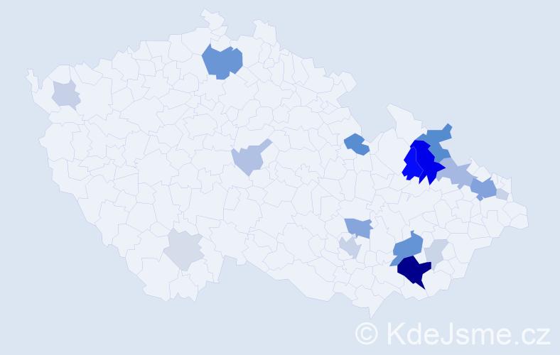 Příjmení: 'Hurdes', počet výskytů 52 v celé ČR