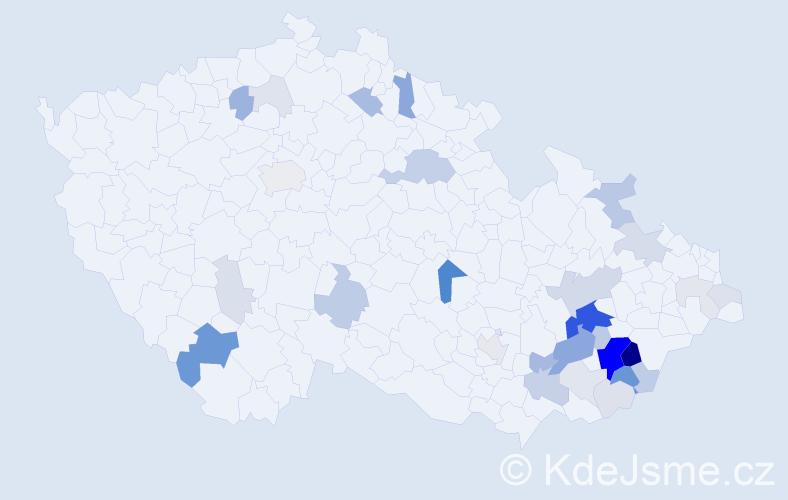 Příjmení: 'Divila', počet výskytů 108 v celé ČR