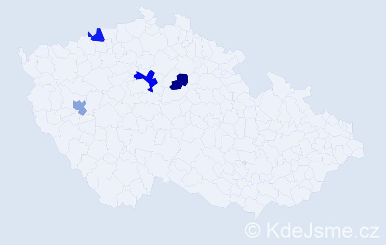 Příjmení: 'Demkovič', počet výskytů 5 v celé ČR