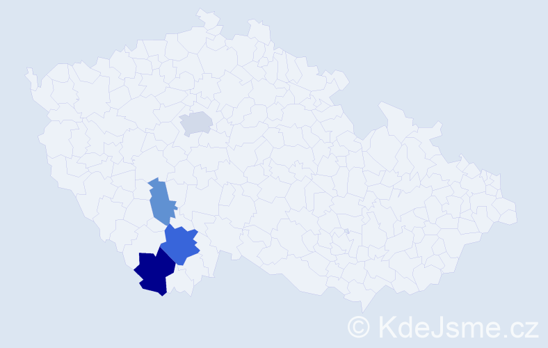 Příjmení: 'Čečelovský', počet výskytů 8 v celé ČR