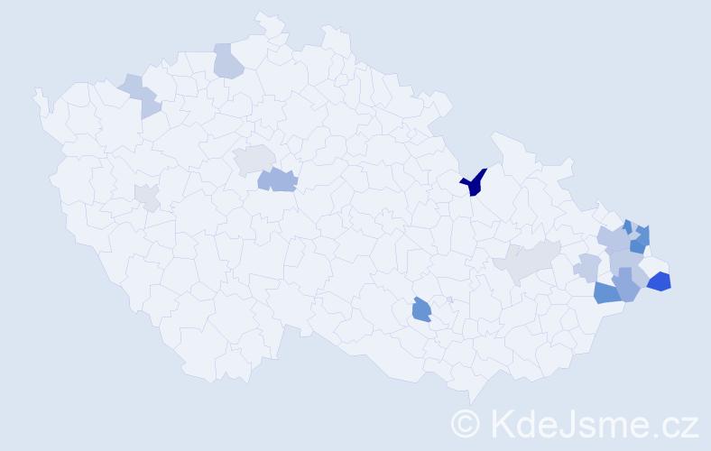 Příjmení: 'Burdek', počet výskytů 49 v celé ČR