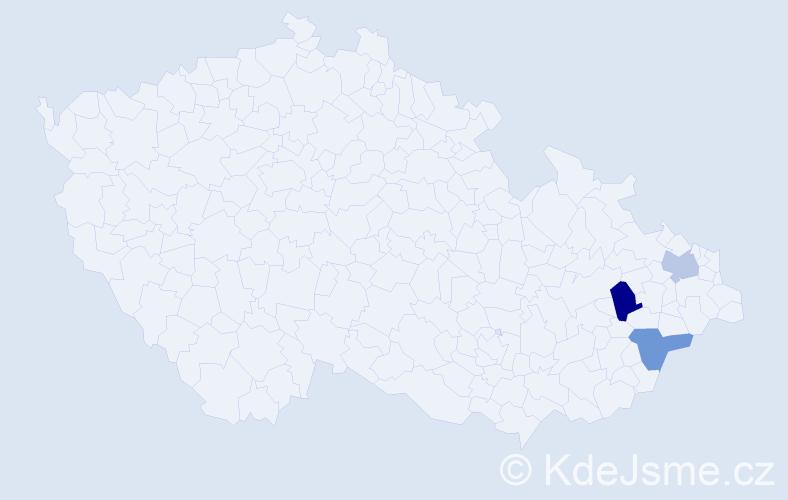 Příjmení: 'Kababik', počet výskytů 7 v celé ČR