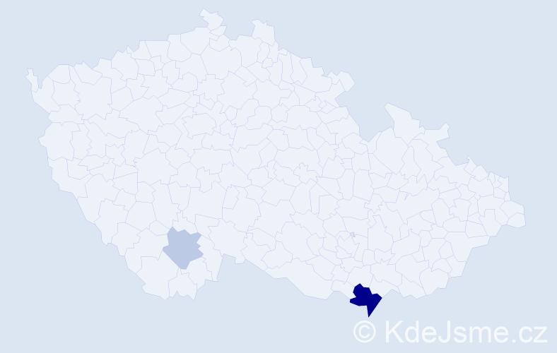 Příjmení: 'Čavarová', počet výskytů 6 v celé ČR
