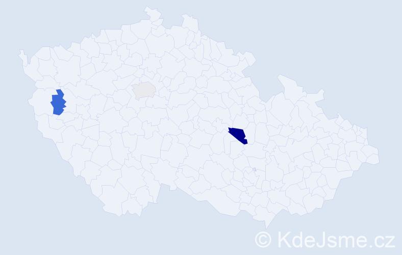 Příjmení: 'Grundloch', počet výskytů 13 v celé ČR
