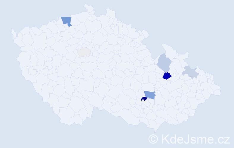 Příjmení: 'Gállová', počet výskytů 15 v celé ČR