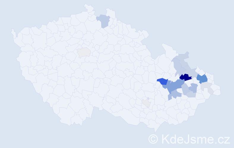 Příjmení: 'Hořín', počet výskytů 58 v celé ČR