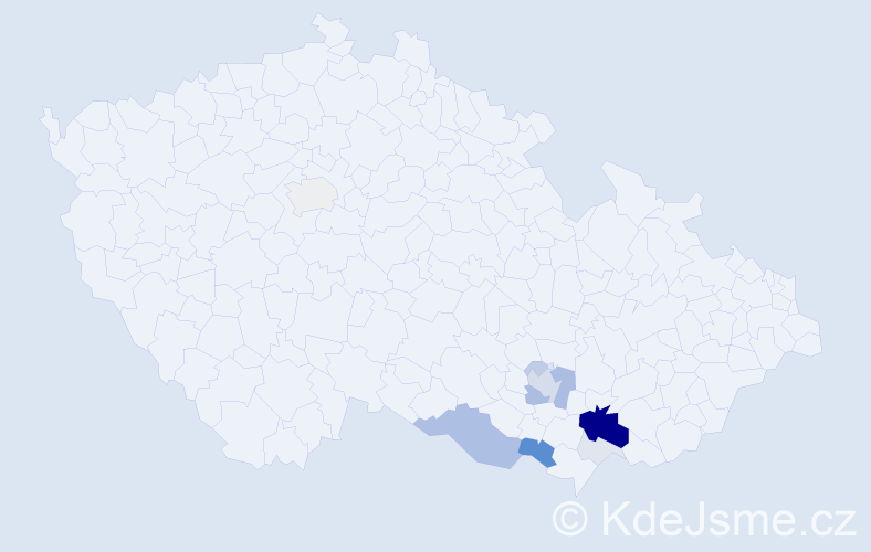 Příjmení: 'Kyněrová', počet výskytů 50 v celé ČR