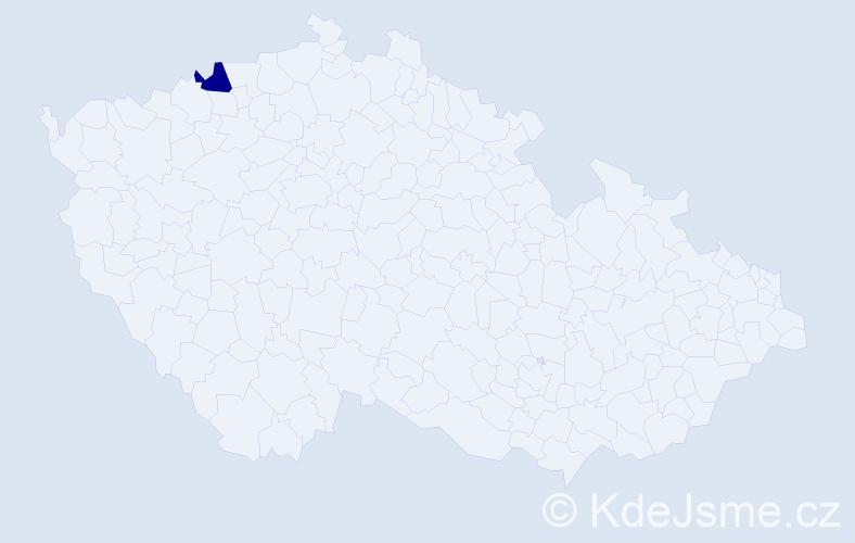 """Příjmení: '""""Hradecká Kávová""""', počet výskytů 1 v celé ČR"""