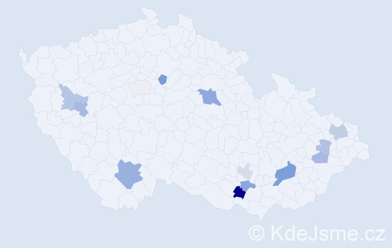 Příjmení: 'Jánek', počet výskytů 25 v celé ČR