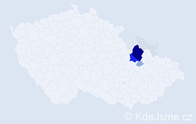 Příjmení: 'Jánětová', počet výskytů 46 v celé ČR