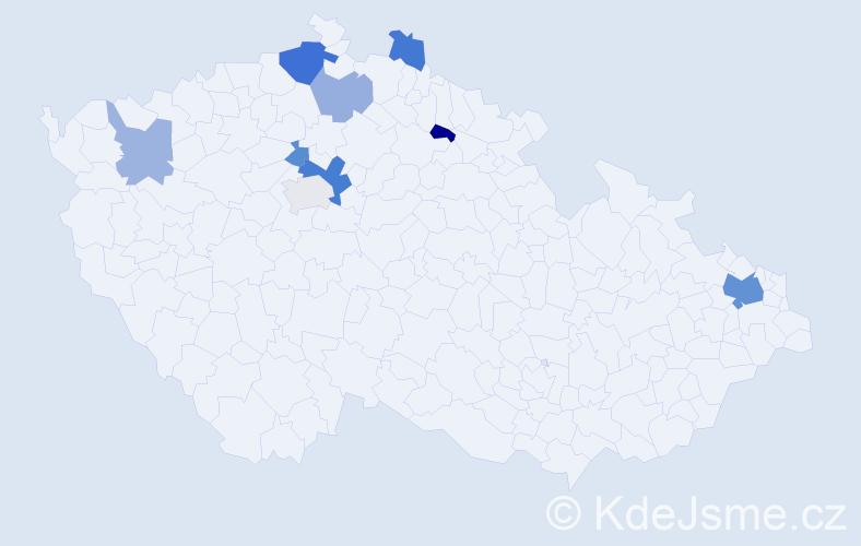 Příjmení: 'Maglenová', počet výskytů 18 v celé ČR