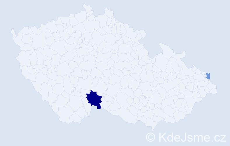 Příjmení: 'Čaládyová', počet výskytů 3 v celé ČR