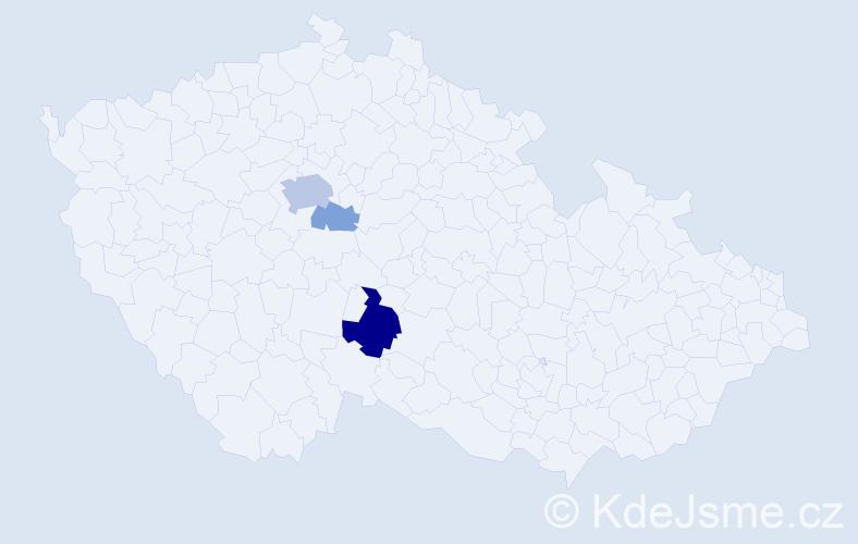 """Příjmení: '""""Hubata-Vacek""""', počet výskytů 9 v celé ČR"""