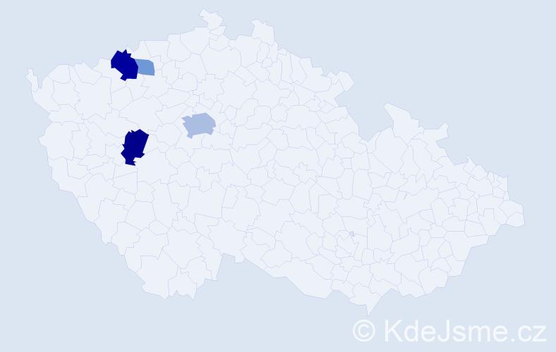 Příjmení: 'Elšlégrová', počet výskytů 10 v celé ČR
