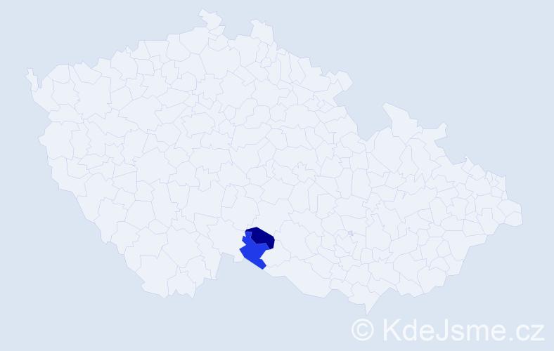 Příjmení: 'Irha', počet výskytů 4 v celé ČR
