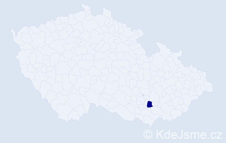 """Příjmení: '""""Bartolome Macháček""""', počet výskytů 1 v celé ČR"""