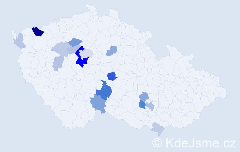 Příjmení: 'Hladovec', počet výskytů 48 v celé ČR
