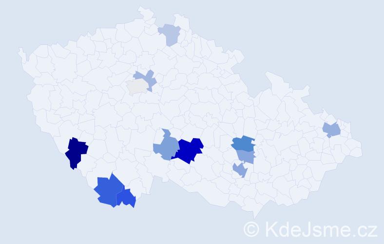 Příjmení: 'Lašanová', počet výskytů 25 v celé ČR