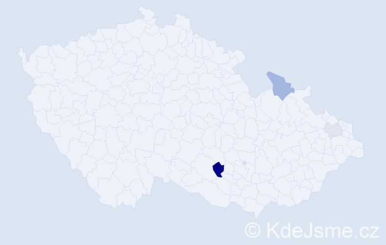 Příjmení: 'Čapová', počet výskytů 4 v celé ČR